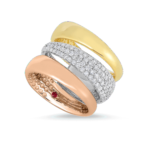 3 Row White, Rose and Yellow Ring with Diamonds