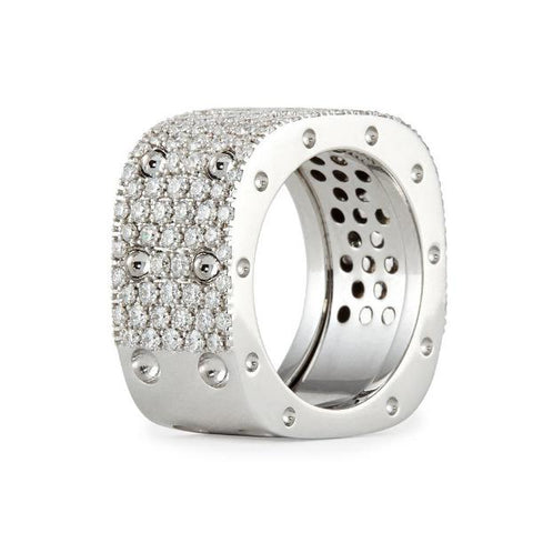 Pois Moi White Gold Double Ring with Diamonds