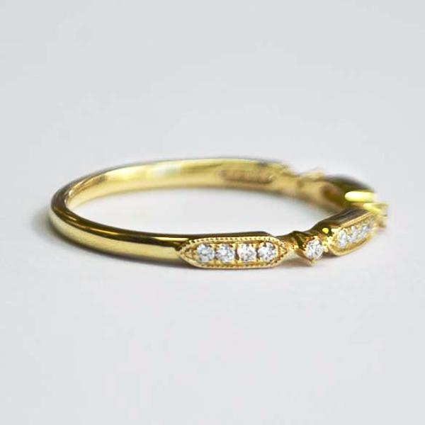 Yellow Rectangle & Round Alternating Diamond Band