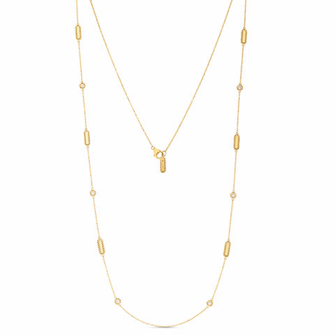 Barocco Link Yellow Necklace with Alternating Diamond Stations