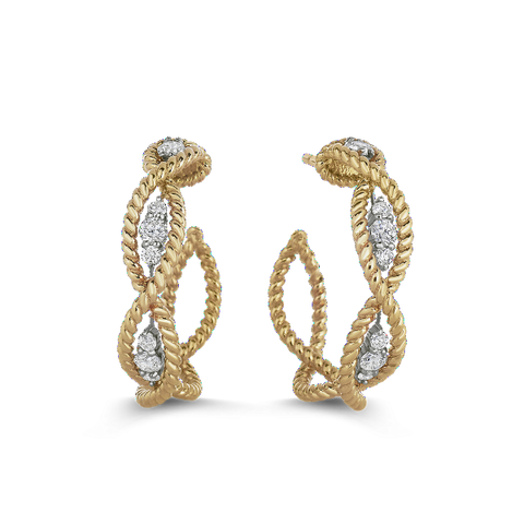 Barocco Yellow Hoop Earrings with Diamonds