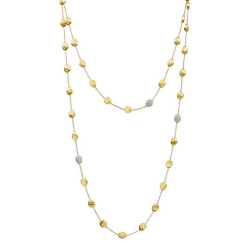 Siviglia Yellow Gold & Diamond Pave Large Bead Long Necklace