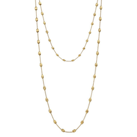 Siviglia Yellow Gold Small Bead Long Necklace