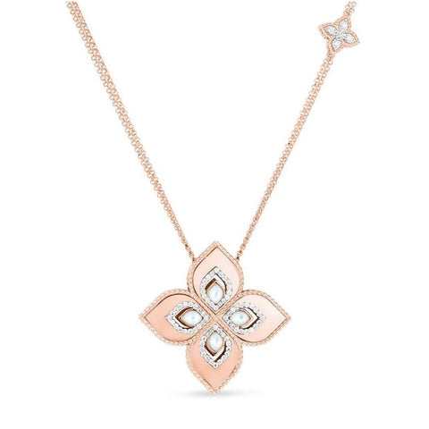 Venetian Princess Rose Long Necklace with Mother-of-Pearl & Diamonds