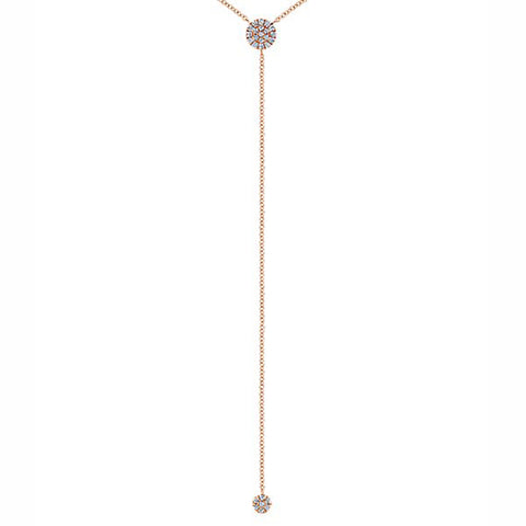 Rose & Diamond Long Dangle Round Pave Necklace