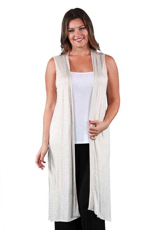 24seven Comfort Apparel Long Sleeveless Plus Size Cardigan Vest-Shrugs-24Seven Comfort Apparel-1X-OATMEAL-24/7 Comfort Apparel