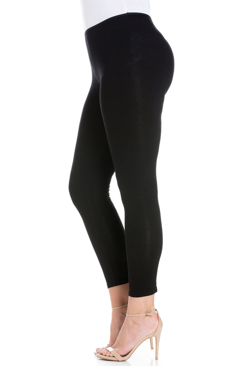 24seven Comfort Apparel Comfortable Ankle Length Plus Size Leggings-Pants-24Seven Comfort Apparel-BLACK-1X-24/7 Comfort Apparel