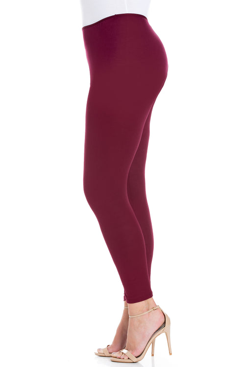 24seven Comfort Apparel Comfortable Ankle Length Plus Size Leggings-Pants-24Seven Comfort Apparel-WINE-1X-24/7 Comfort Apparel