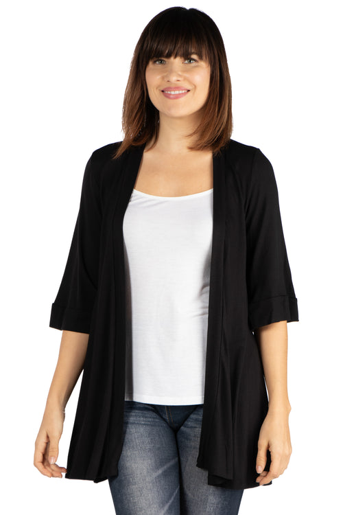 24seven Comfort Apparel Elbow Length Sleeve Open Front Cardigan-Shrugs-24Seven Comfort Apparel-BLACK-S-24/7 Comfort Apparel