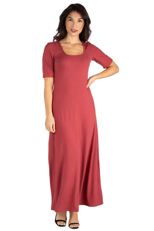24seven Comfort Apparel Elbow Length Sleeve Maxi Dress-Dresses-24Seven Comfort Apparel-BRICK-S-24/7 Comfort Apparel