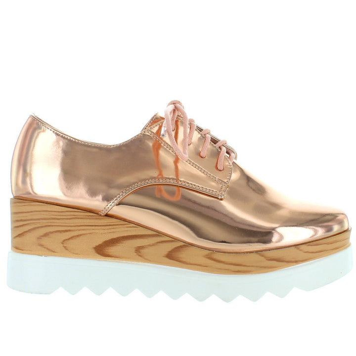 Wanted Beekman - Rose Gold High Platform/Wedge Oxford