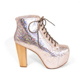 Jeffrey Campbell Lita - Silver Hologram Platform Lace-up Heel