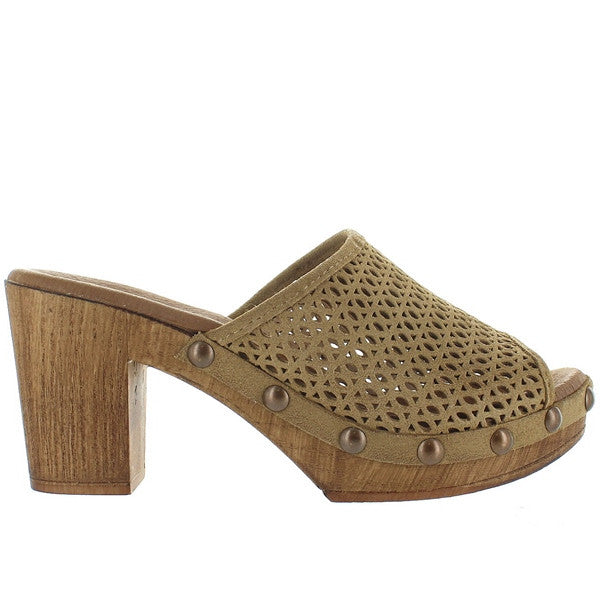 Eric Michael Marlee - Sand Leather Laser-Cut Clog Sandal