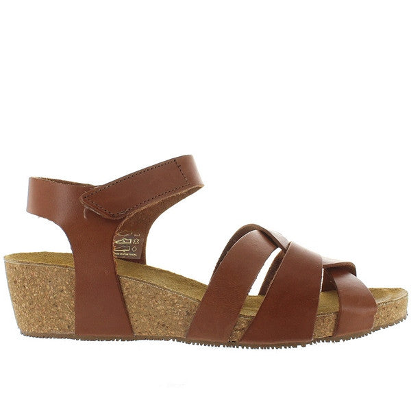Eric Michael Millie - Brown Leather Strappy Platform Wedge Sandal
