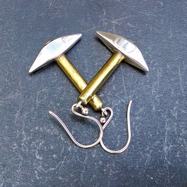 Pickaxe Earrings in Fine Silver & 22k Gold - PartsbyNC Industrial Jewelry