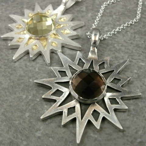 Sun Star Pendant in Fine Silver with 10mm Quartz Cabochon - PartsbyNC Industrial Jewelry