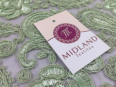 "Light Green Corded Floral Paisley Double Scalloped Edging 50"" Wide M236 Mtex - Midland Textiles & Fabric"
