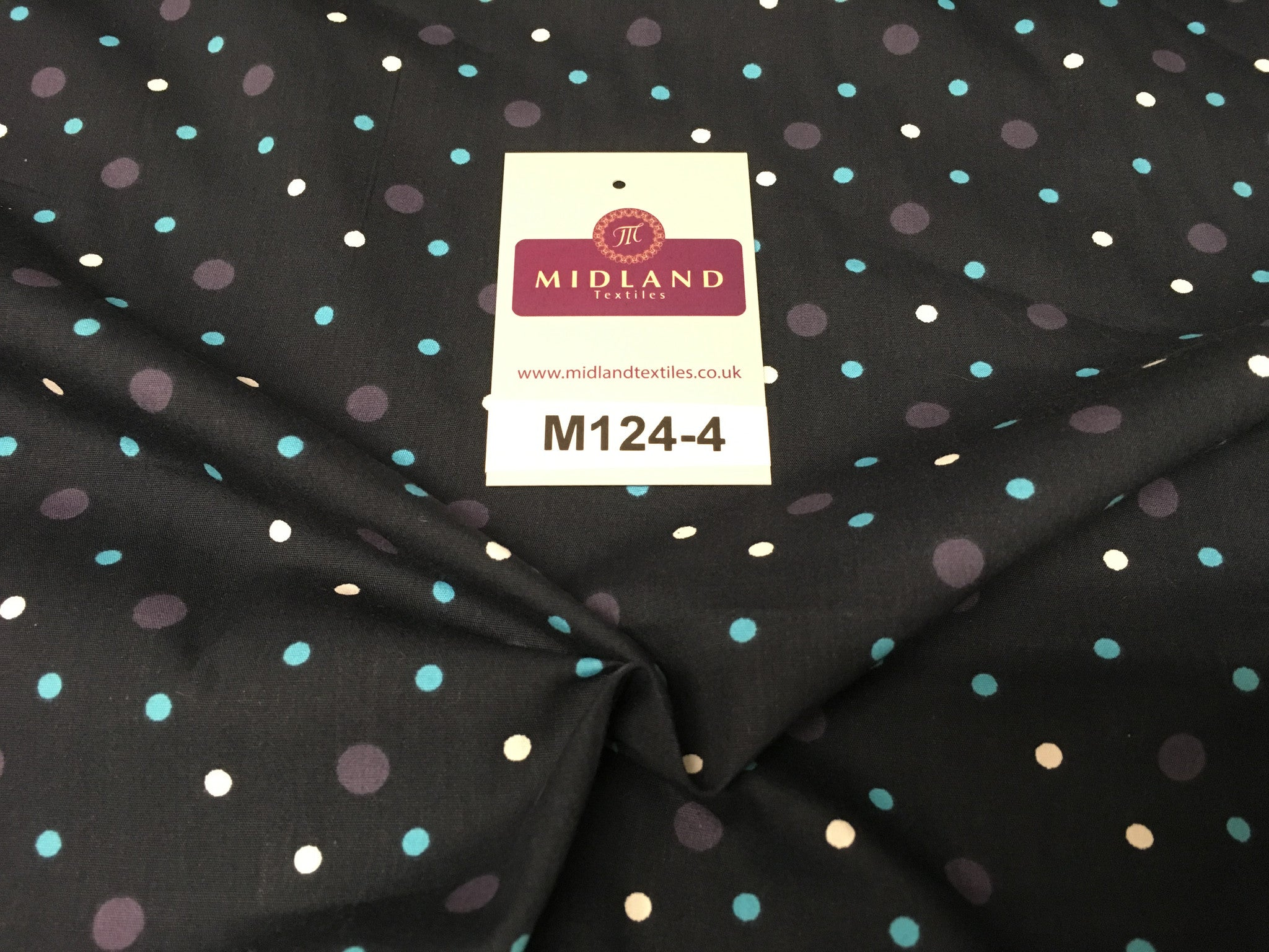 "Multi coloured Polka Dot & Spot 100% Cotton Poplin Fabric 58"" Wide M124 - Midland Textiles & Fabric"