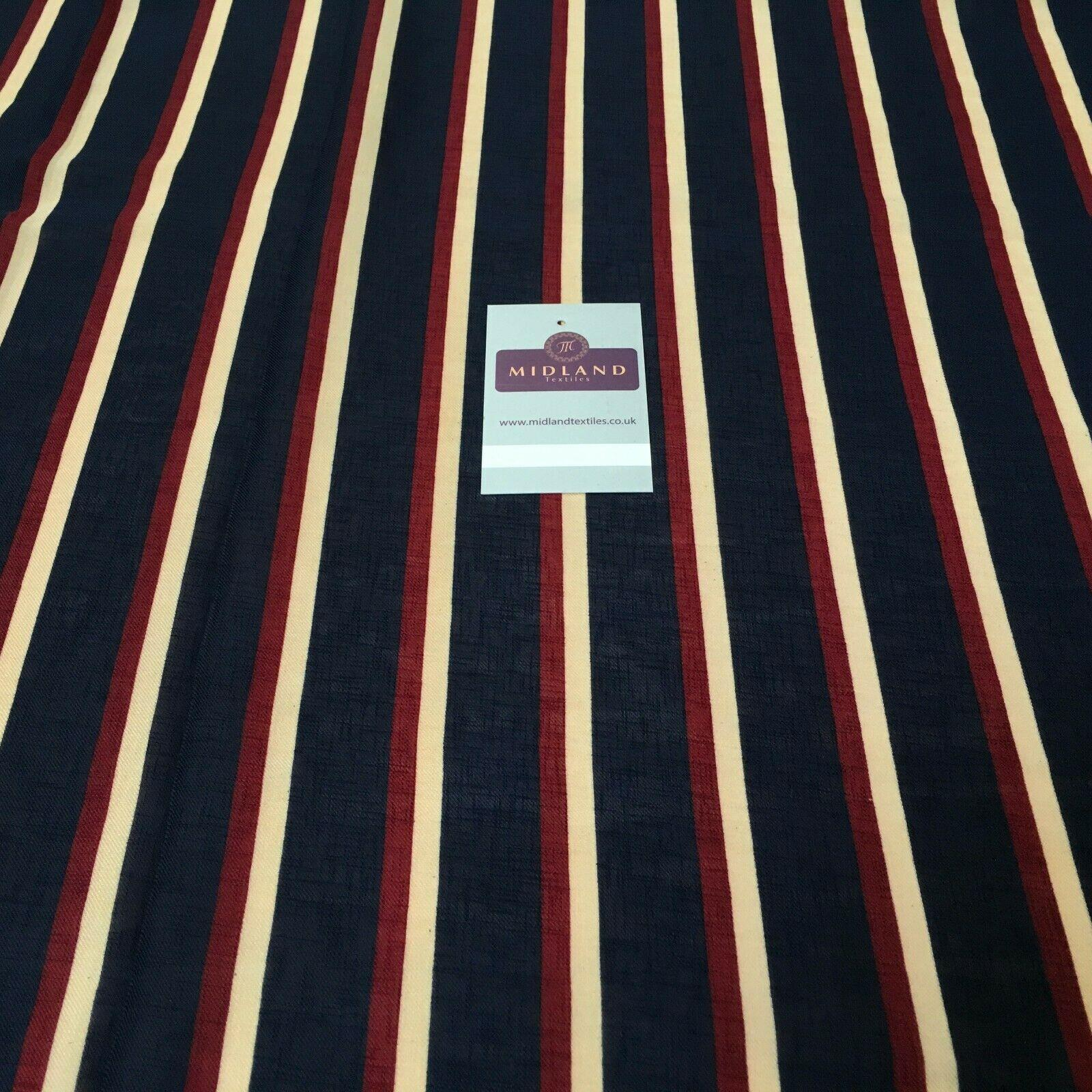 Navy Striped Georgette crepe Linen effect dress Fabric 150cm wide MK1095-12