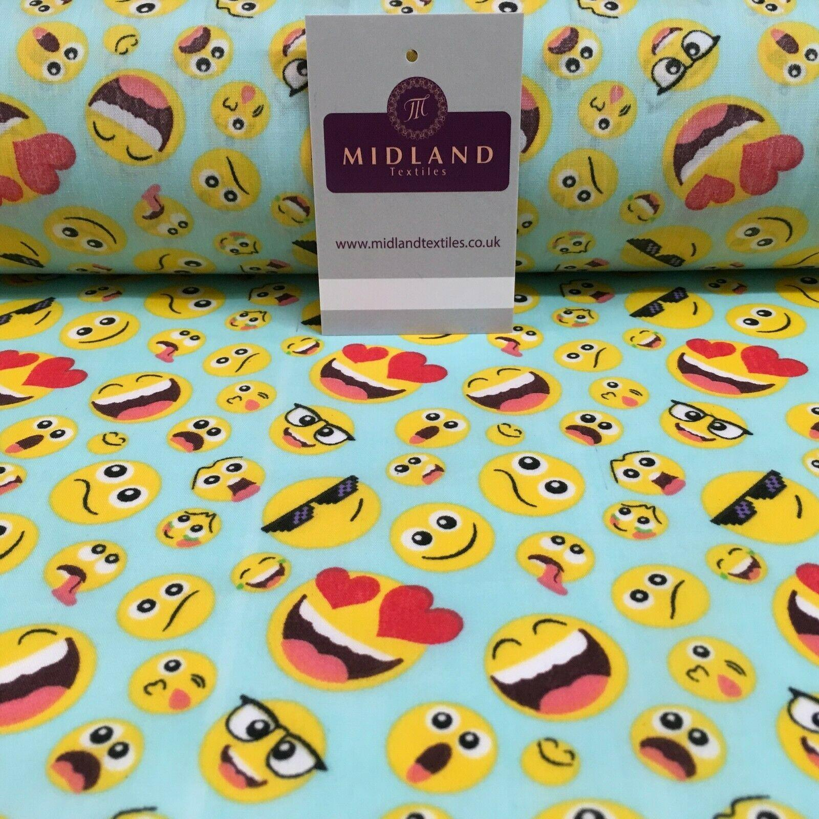 Novelty Emoji Smiley, Laughing, Love Face Polycotton Fabric 110 cm Wide MH1165