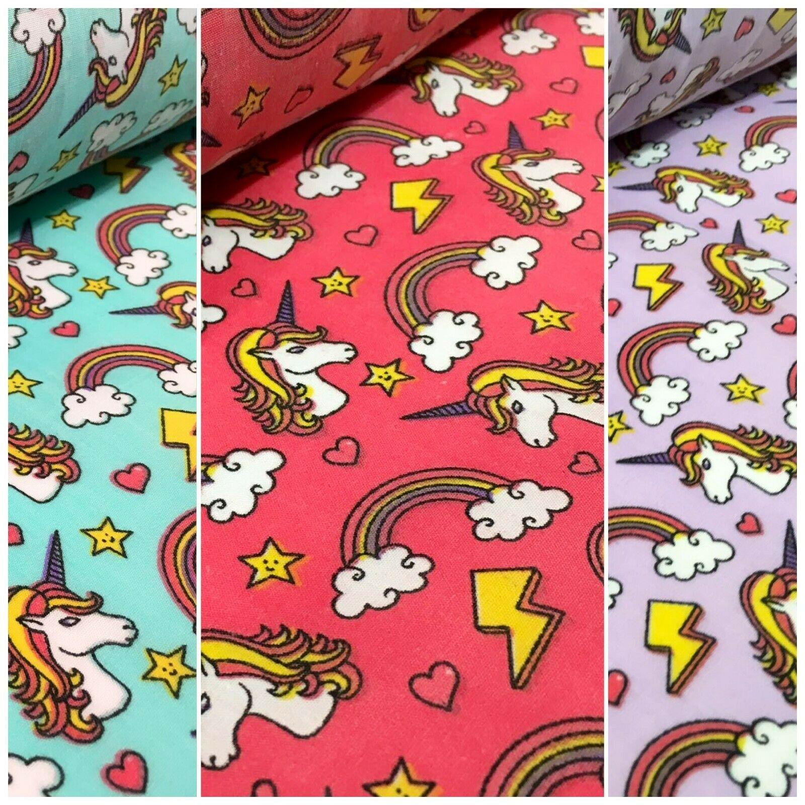 Rainbow Unicorns Mythical Polycotton Printed Fabric 110 cm Wide MH1166 Mtex