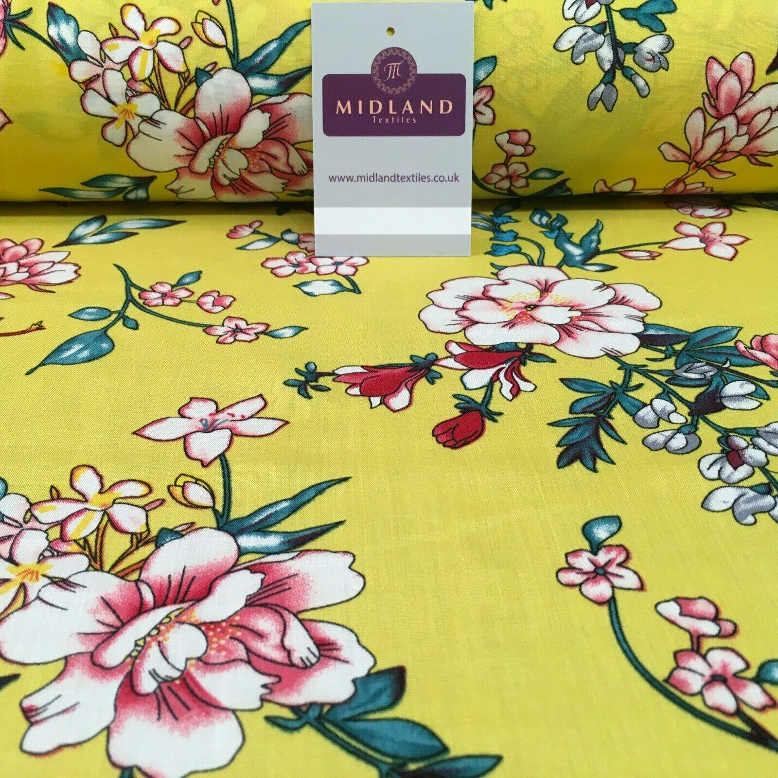 Floral Printed Rayon Viscose Dress Fabric 143cm Wide MA1174 Mtex