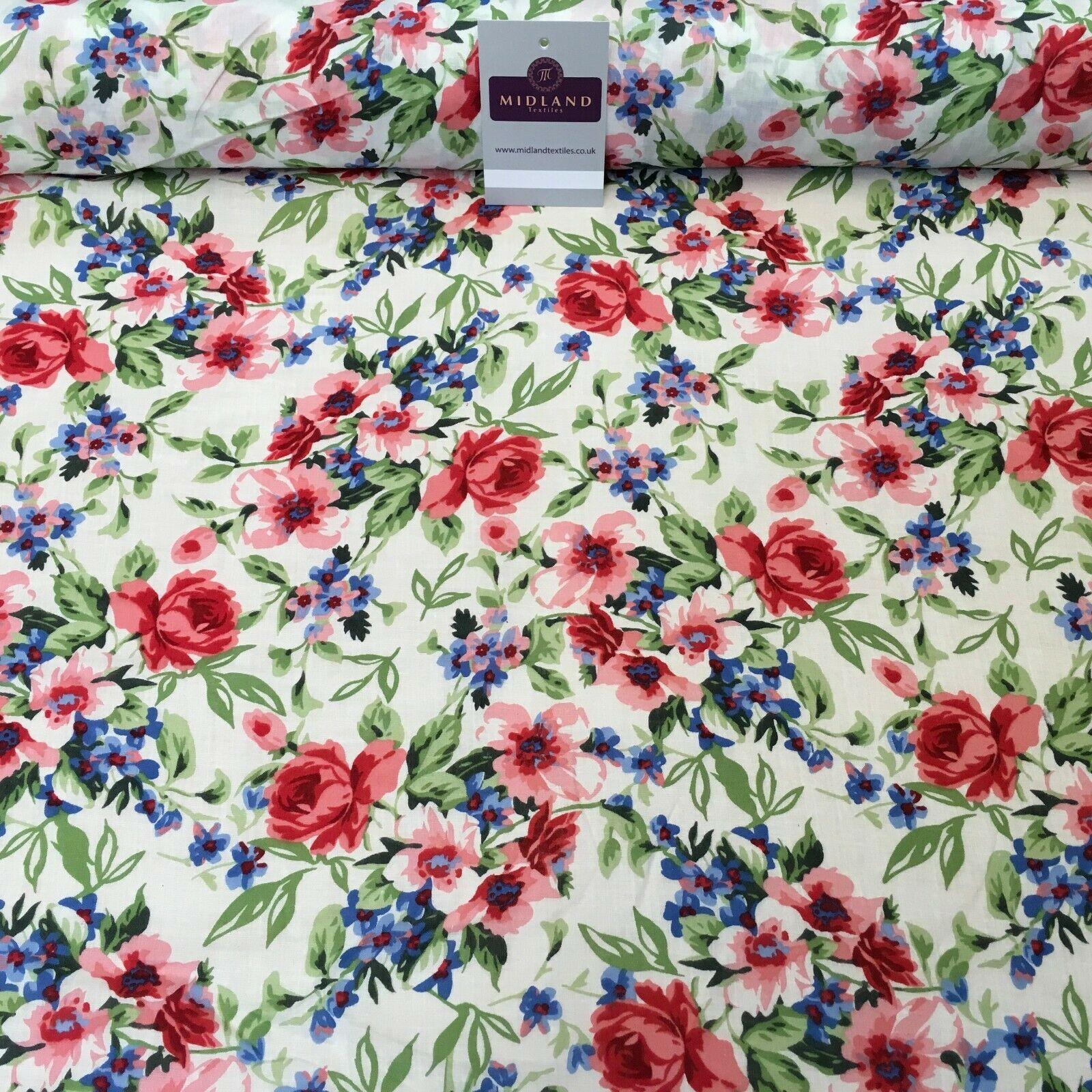 Ivory Floral Cotton Printed Lawn Dress Fabric 150 cm Wide M145 -74 Mtex