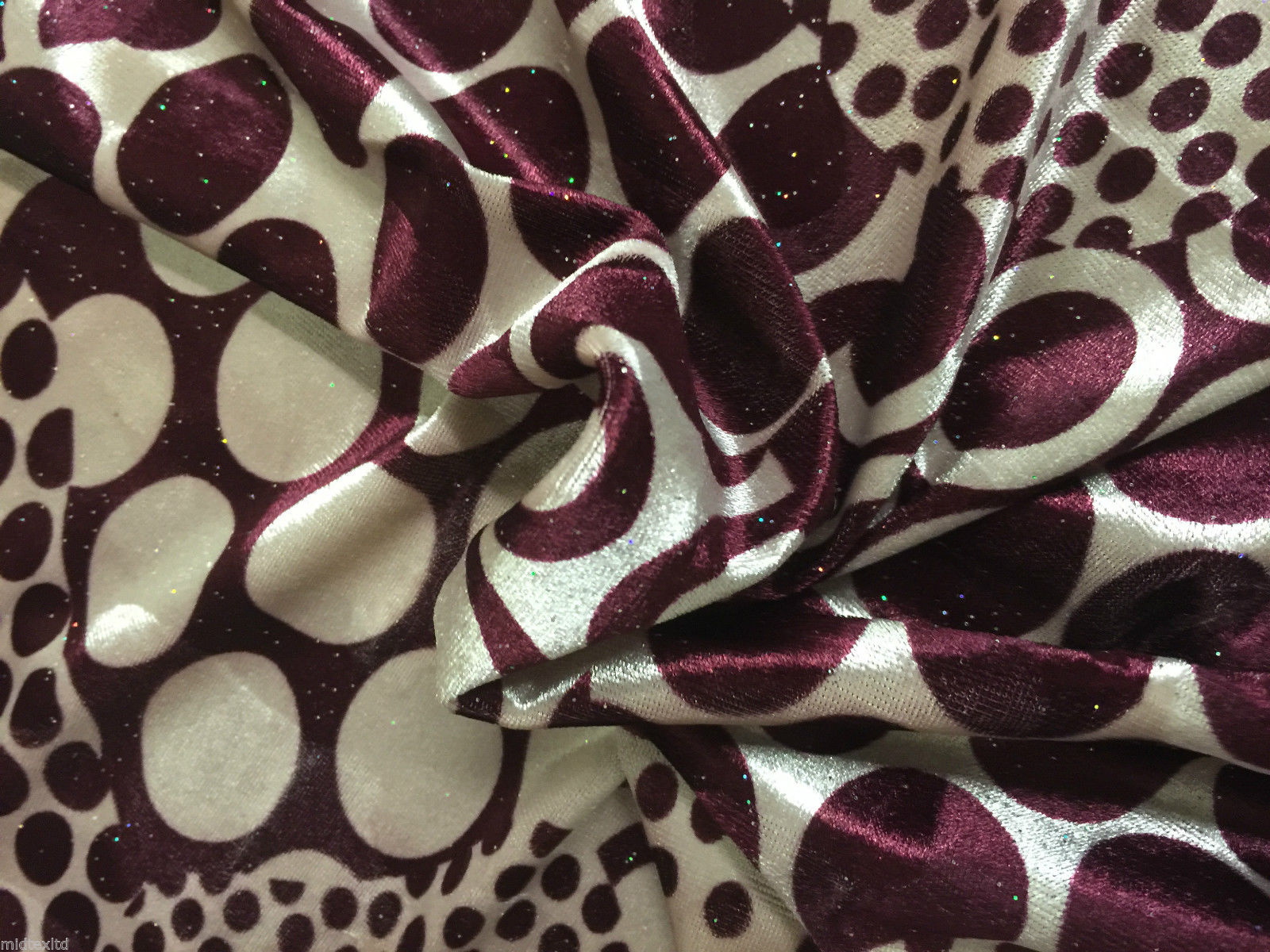 Abstract Glitter stretch Velvet circle and dot  M16-3 & 4 Mtex