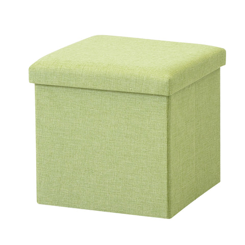 Brian & Dany  Foldable Storage Ottoman Charcoal Faux Linen(Green)