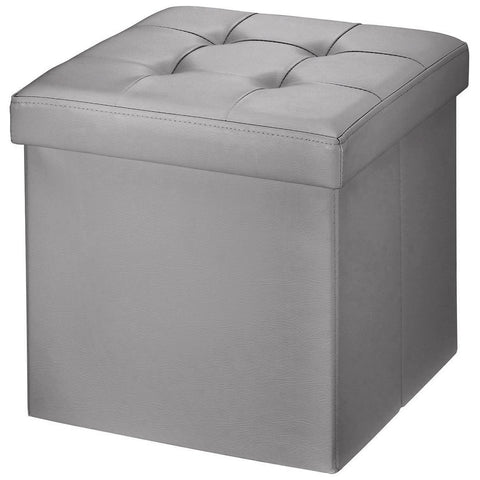 "Brian & Dany 30L"" Faux Leather Folding Storage Ottoman Bench(GRAY)"