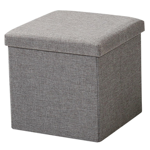 Brian & Dany  Foldable Storage Ottoman Charcoal Faux Linen(Gray)
