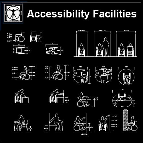 Free Accessibility Facilities V3 - CAD Design | Download CAD Drawings | AutoCAD Blocks | AutoCAD Symbols | CAD Drawings | Architecture Details│Landscape Details | See more about AutoCAD, Cad Drawing and Architecture Details