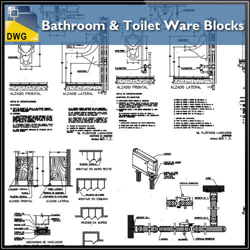Bathroom & toilet Ware Block file - CAD Design | Download CAD Drawings | AutoCAD Blocks | AutoCAD Symbols | CAD Drawings | Architecture Details│Landscape Details | See more about AutoCAD, Cad Drawing and Architecture Details