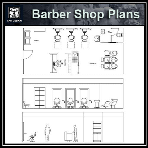 Barber Shop  Plans - CAD Design | Download CAD Drawings | AutoCAD Blocks | AutoCAD Symbols | CAD Drawings | Architecture Details│Landscape Details | See more about AutoCAD, Cad Drawing and Architecture Details