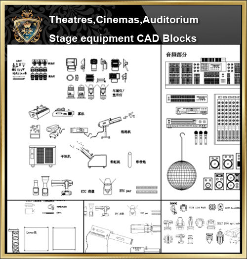 ★【Auditorium ,Cinema, Theaters CAD Blocks-Stage lighting,Stage sound system CAD Blocks】@Auditorium ,Cinema, Theaters CAD Blocks,Stage lighting,Stage sound system Autocad Blocks,Drawings,Details
