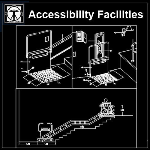 Free Accessibility Facilities V2 - CAD Design | Download CAD Drawings | AutoCAD Blocks | AutoCAD Symbols | CAD Drawings | Architecture Details│Landscape Details | See more about AutoCAD, Cad Drawing and Architecture Details