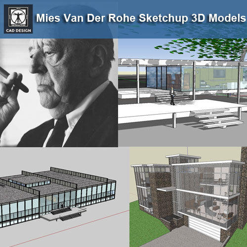 17 Projects of Mies Van Der Rohe Architecture Sketchup 3D Models - CAD Design | Download CAD Drawings | AutoCAD Blocks | AutoCAD Symbols | CAD Drawings | Architecture Details│Landscape Details | See more about AutoCAD, Cad Drawing and Architecture Details