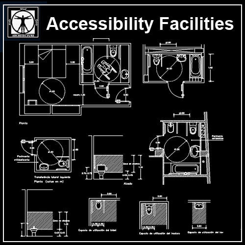Accessibility Facilities Drawings V3 - CAD Design | Download CAD Drawings | AutoCAD Blocks | AutoCAD Symbols | CAD Drawings | Architecture Details│Landscape Details | See more about AutoCAD, Cad Drawing and Architecture Details
