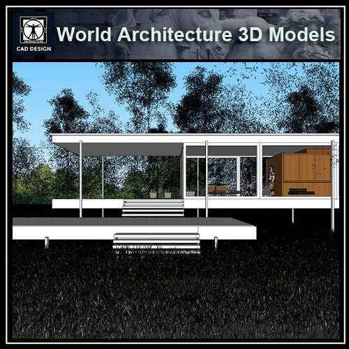 Sketchup 3D Architecture models- Farnsworth house by Ludwig Mies van der Rohe