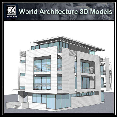 Sketchup 3D Architecture models- Rickmers House(Richard Meier)