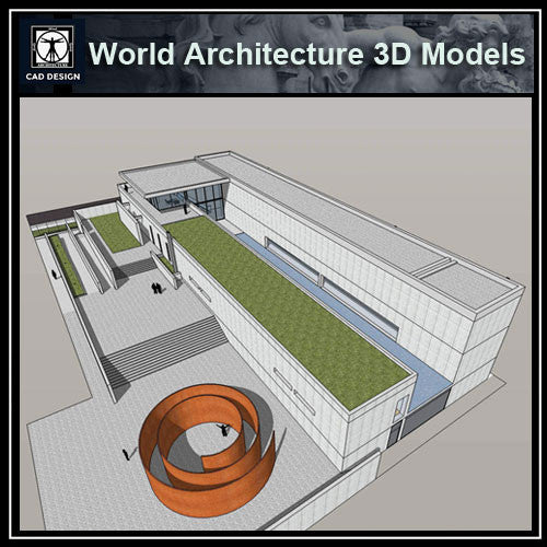 Sketchup 3D Architecture models- The Pulitzer Foundation for the Arts (Tadao Ando )