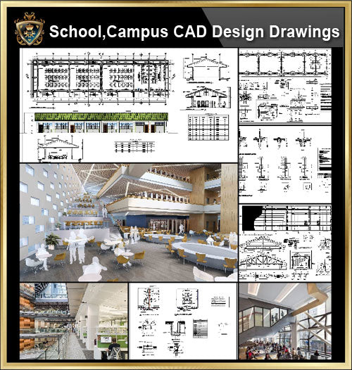 ★【School, University, College,Campus CAD Design Project V.1】@Autocad Blocks,Drawings,CAD Details,Elevation