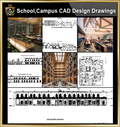 ★【School, University, College,Campus CAD Design Project V.2】@Autocad Blocks,Drawings,CAD Details,Elevation