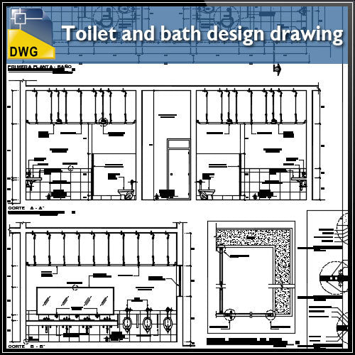 Detail drawing of toilet and bath design drawing - CAD Design | Download CAD Drawings | AutoCAD Blocks | AutoCAD Symbols | CAD Drawings | Architecture Details│Landscape Details | See more about AutoCAD, Cad Drawing and Architecture Details