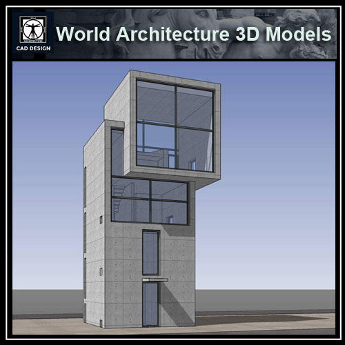 Sketchup 3D Architecture models- 4X4 House(Tadao Ando )