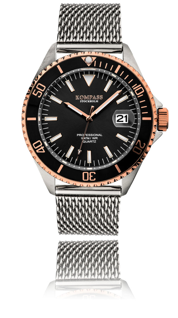 Kompass Professional Diver Mesh Black / Rose Gold