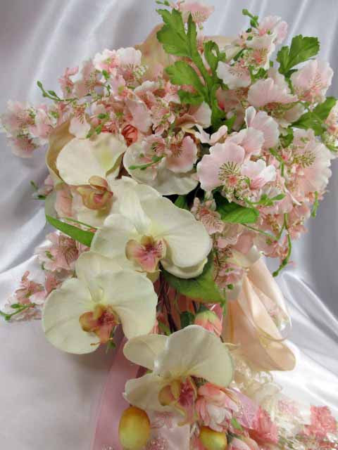 Blush Pink and Ivory Orchid, Calla Lily, and Peony Large Cascading Beaded Bridal Bouquet - Odyssey Creations