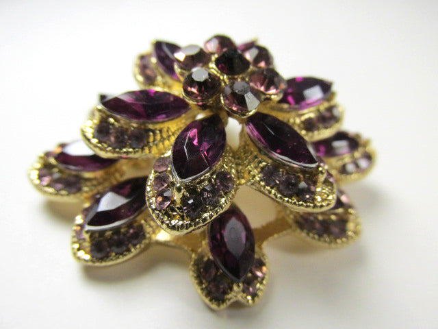 Amethyst Purple Crystal and Gold Triple Tier 2 inch layered 3D Brooch - Odyssey Creations