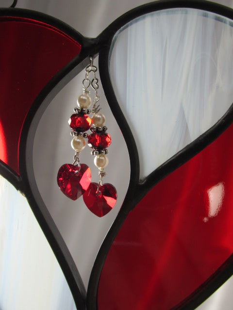 Red and White Two Hearts as One Stained Glass Heart Suncatcher or Bridal Decor - Made to Order - Odyssey Creations