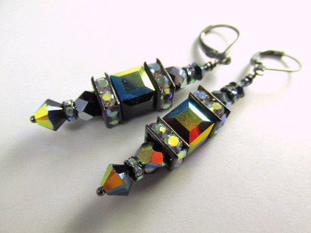 Night Lights Multicolor Swarovski Cube Earrings in Jet Black AB with Gunmetal crystal spacers - Odyssey Creations